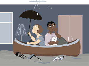 unhappy couple in a boat in their livingroom because their house is flooded.