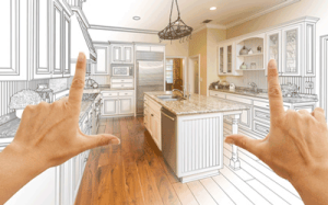 a kitchen being viewed through a hand scope