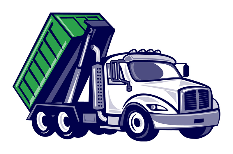 A cartoon of a roll off container rental truck